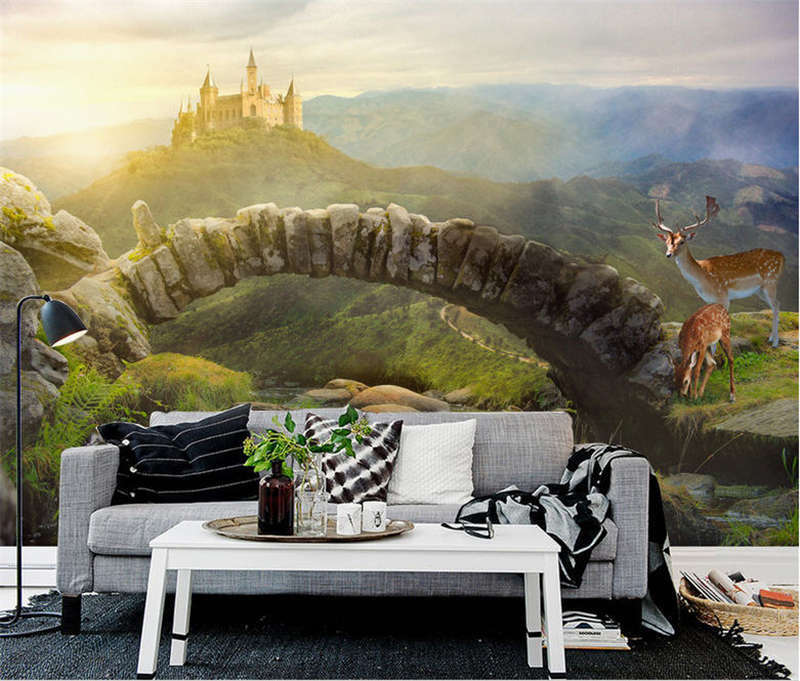 Unique Urgent Deer 3D Full Wall Mural Photo Wallpaper Printing Home Kids Decor