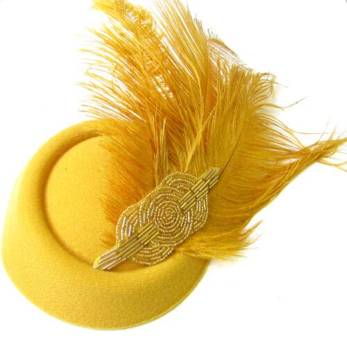 Gold Straußen-feder Pillbox Hut Rennen Vintage Kopfschmuck Ascot Kopfbedeckung