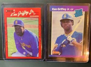 Ken Griffey Jr RARE error cards 1990 Donruss #365 + 1989 RC NO .'S after INC!!🔥