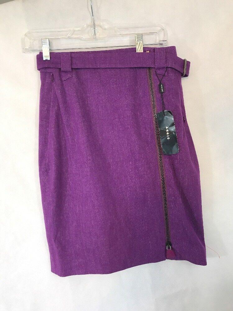 NWT  Akris Stable purple Straight Zipper Skirt in Purple [SZ 4 US]  C665