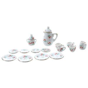 15pcs-1-12-Dollhouse-Miniature-Dining-Ware-Porcelain-Tea-Set-Red-Cherry-T3O-P9A8
