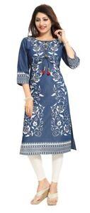 Women-Indian-Printed-Pakistan-Denim-Kurti-Tunic-Kurta-Shirt-Blue-Dress-DN2211