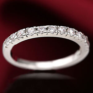 18K-WHITE-GOLD-GF-LADIES-SILVER-ETERNITY-BAND-WEDDING-RING-W-SIMULATED-DIAMOND