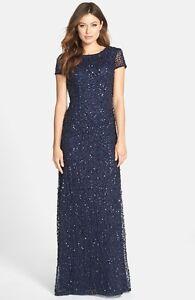 e151e8d4 ADRIANNA PAPELL SHORT SLEEVE SEQUIN MESH GOWN NAVY DRESS sz 16 W | eBay