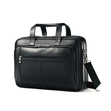 NEW Samsonite Black Leather Business Case Checkpoint Friendly Briefcase