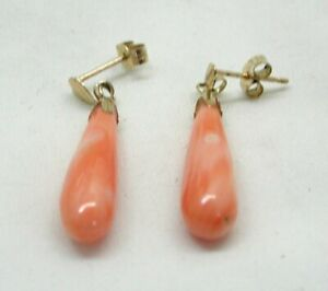 Vintage-9-carat-Gold-Coral-Dropper-Earrings