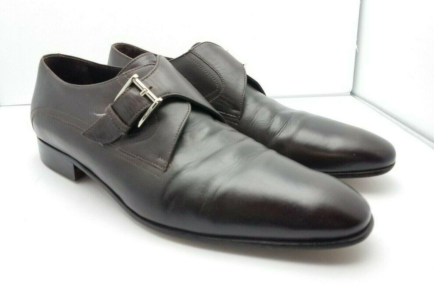 A.Testoni Basic Marronee Leather Monk Strap  8 D Sautope classeiche da uomo