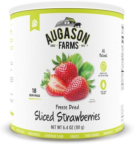 Augason Farms Freeze Dried Sliced Strawberries 6.4 oz