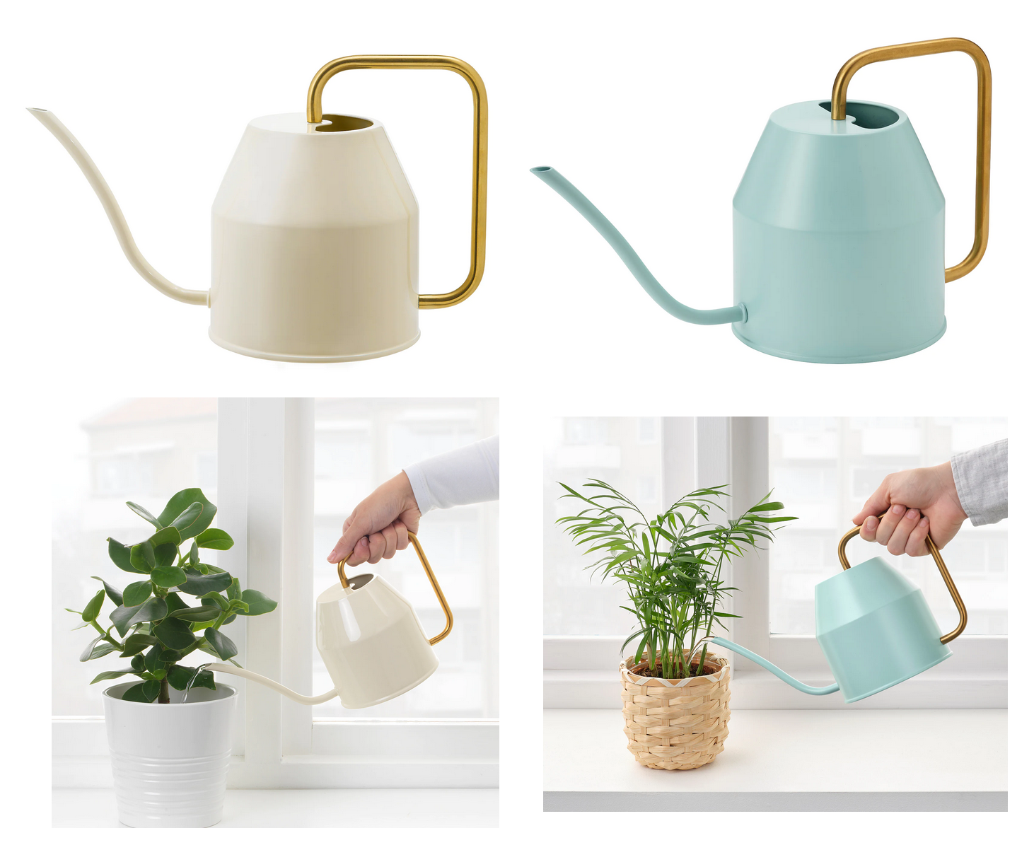Ikea VATTENKRASSE Plant Watering Can Light Turquoise Ivory/Gold Colour 0.9 L New