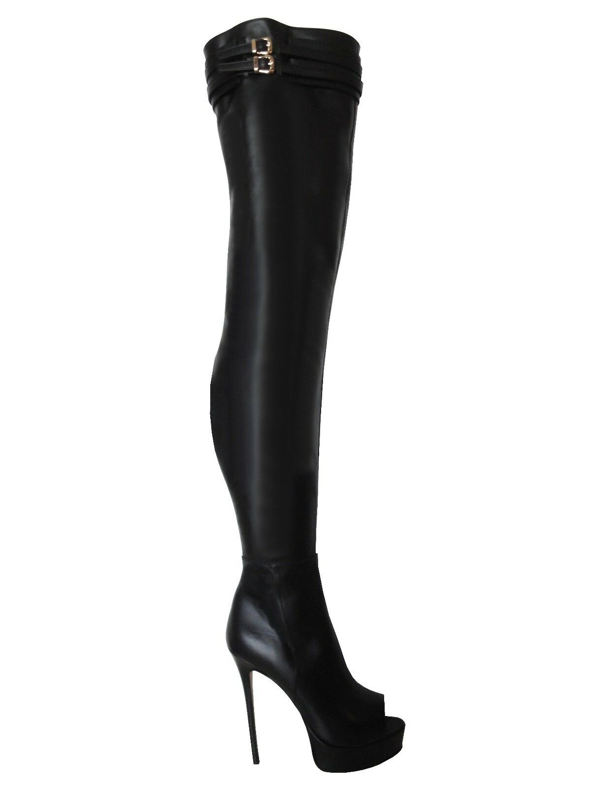 CQ COUTURE PLATFORM PEEP TOE OVERKNEE BOOTS STIEFEL BOOTS BELT BLACK BLACK 36