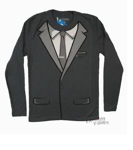 68c64a2906c Details about Archer Tuxedo Costume Fx Adult Long Sleeve Shirt