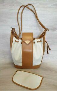 Yves Saint Laurent VTG Drawstring Shoulder Bucket Bag YSL PVC Leather Wallet Log