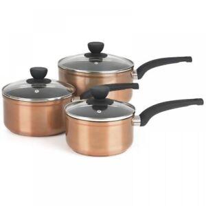 Salter-3-piezas-Cobre-Efecto-Aluminio-induccion-Antiadherente-Cazo-de-Cocina-Pan