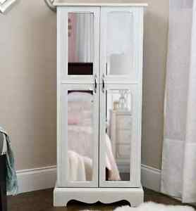 Jewelry Armoire White Box Mirrored Chest Tall Storage