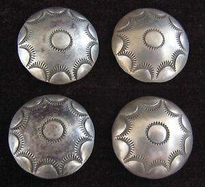 (4) 1 INCH SILVER STAMPED / CONCHO / BUTTONS (NAVAJO STYLE) #1007