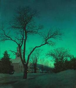 Image Is Loading Winter Night Church Village Green By Maxfield Parrish