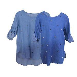 Girls-Dress-Denim-Tunic-Top-Cotton-Pearl-Jeans-Shirt-Sleeve-Age-4-14-Years