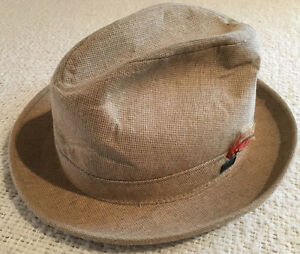 268f563c7 Details about Vintage Adam Fedora Hat Tan With Feather Size 7 Made in USA
