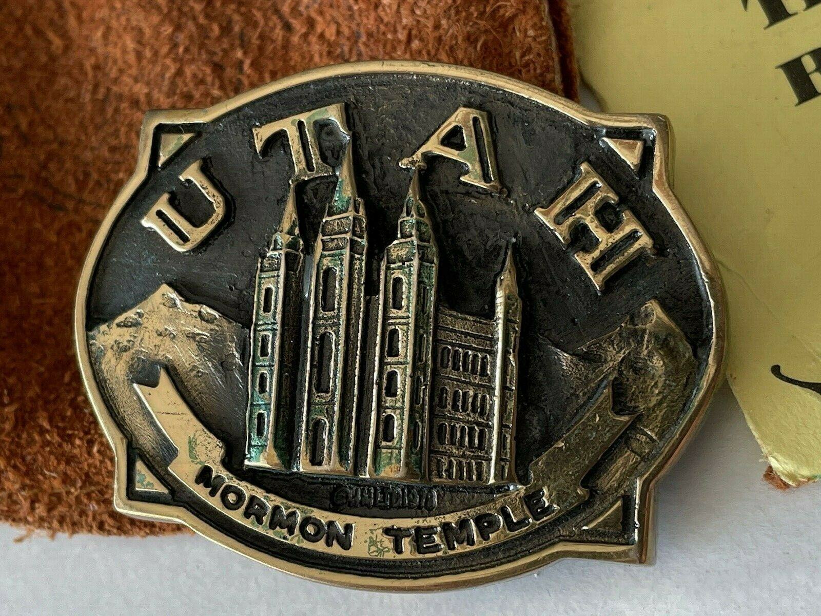 Vintage 1970's The state of Utah Mormon Temple Belt Buckle Registered Collection