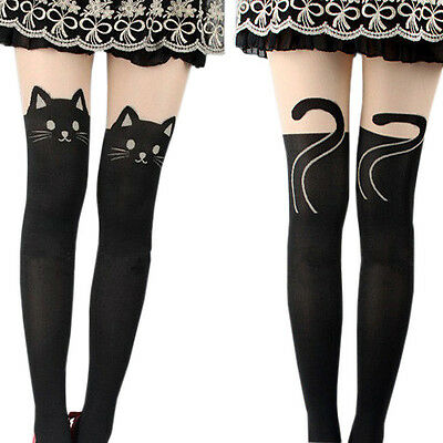NEW Women Cute Cat Tail Gipsy Mock Knee High Hosiery Pantyhose Tattoo Tights