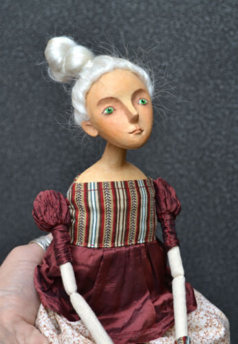 Art Doll, Handmade Artisan Papier-mache Cloth Doll-Toy Girl, OOAK, Modern Artist