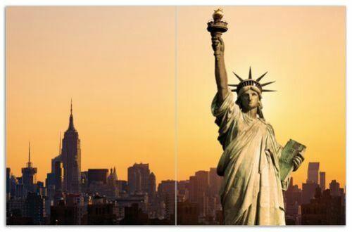 80x52cm Freiheitsstatue New York Wallario Herdabdeckplatte 2-teilig aus Glas