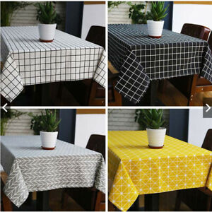 Nappe-en-lin-rectangle-Maison-Table-Housse-en-tissu-cuisine-Picnic