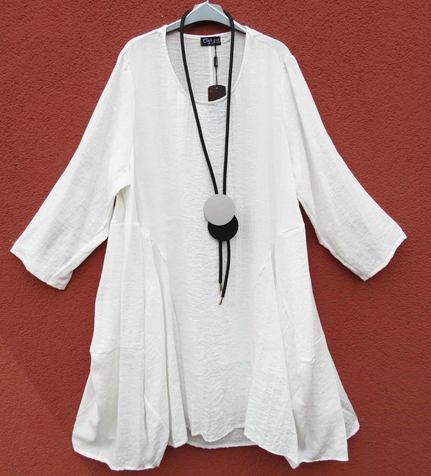 Classics & More Kleid Dress Robe Vestido Vestido Vestido 50% Leinen Linen XL 48 50 Lagenlook ab11f7