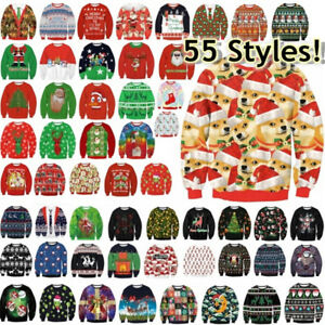 Mens-Womens-UGLY-Christmas-Sweater-President-Trump-Hoodies-Knitted-Pullover-Top