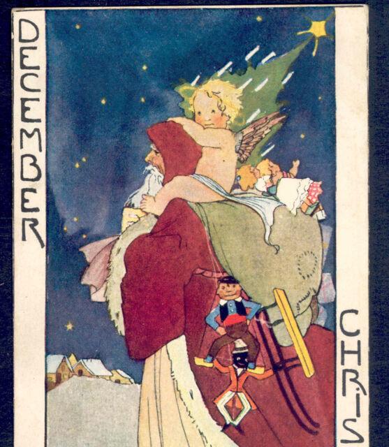 "SCARCE.! ""DECEMBER"" FATHER CHRISTMAS,ANGEL RIDES SANTA,RIE CRAMER,MONTH POSTCARD"