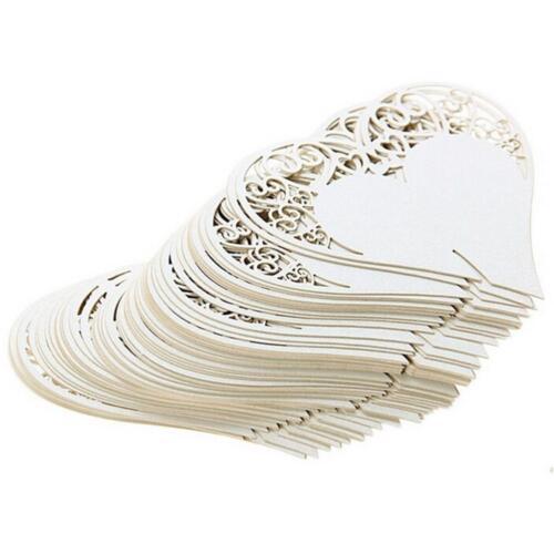 50pcs//set Wedding Table Decoration Place Cards Laser Cut Heart Floral Wine Glass