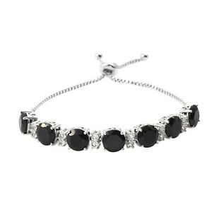 Rhodium-Plated-Sterling-Silver-Bracelet-With-Black-Spinel-And-White-Topaz