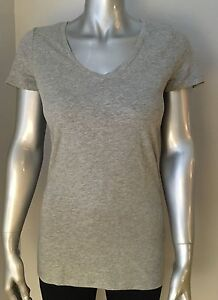 NEW-Tommy-Hilfiger-Women-039-s-Basic-V-Neck-Tee-T-Shirt-Heather-Grey-Gray-Medium-M