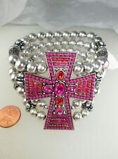 Cross Bracelet Pink Rhinestones Western Stretch Seed Beads Silver Hot Fuchsia