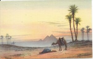 Prayer-in-the-Desert-near-Great-Pyramid-Egypt-Artist-Signed-AYOUB-BISHAI-R50