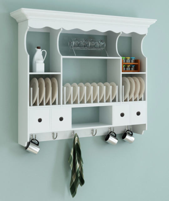 Kitchen Wall Cabinet Shabby Chic Storage Wooden White Dresser Vintage Plate Rack For Online Ebay