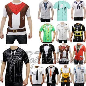 adulto-Halloween-Hombre-Navidad-Camiseta-Estampada-Ganster-Vaquero-CIERVO-DO