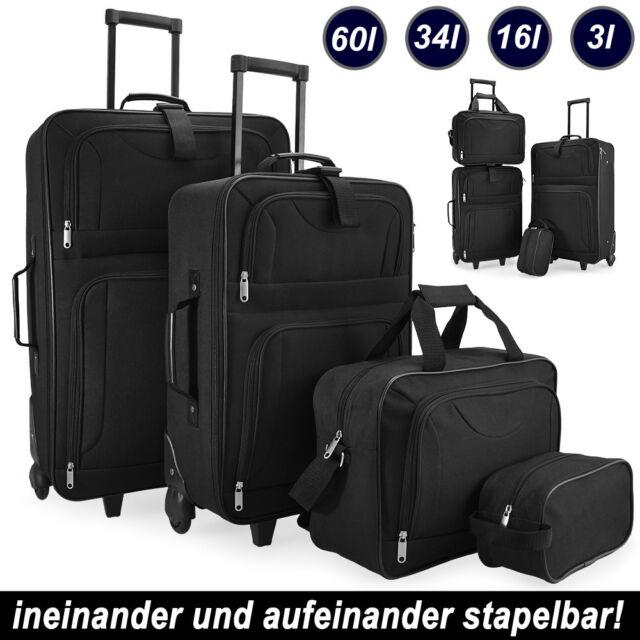 Kofferset Reisekoffer 4 Taschen Trolley Reise Koffer Set Tasche S M L XL schwarz