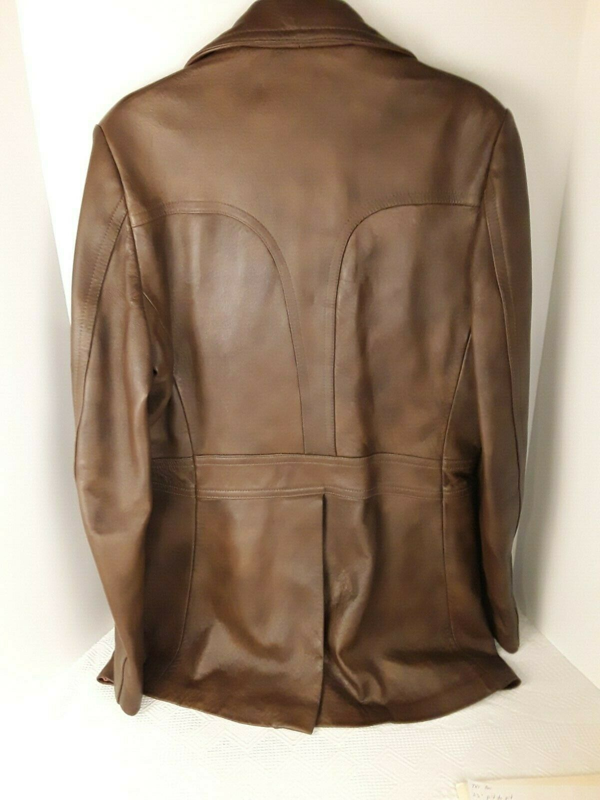 Mens Genuine Brown Leather Coat Fitted Retro 70's… - image 7
