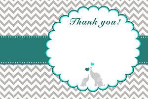 30 Elephant Baby Boy Shower Thank You Card Note Teal Grey Chevron ...