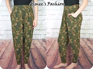 NEXT-TROUSERS-LADIES-DITSY-FLORAL-TAPERED-STRETCH-NEW-789