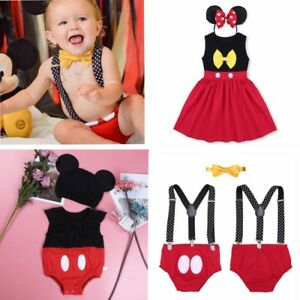 Newborn Baby Minnie Mouse Costume Girl Romper Dress Bodysuit Mickey Boy Clothes