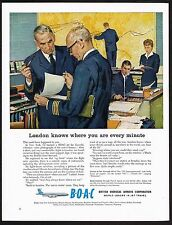 1960 Vintage BOAC B.O.A.C Airways Airline Pilot Air Traffic Control Art Print Ad