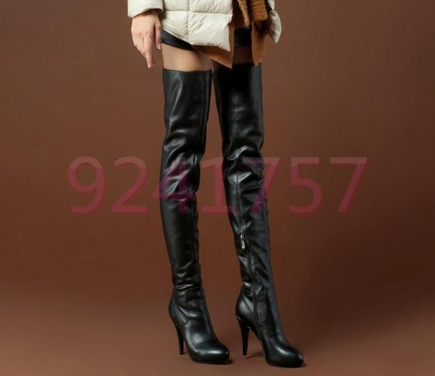 Damen Overknee-Stiefel Leder Highheels 10cm/7cm Absatz Sexy Schwarz Highheels Leder Gr:33-40 515722