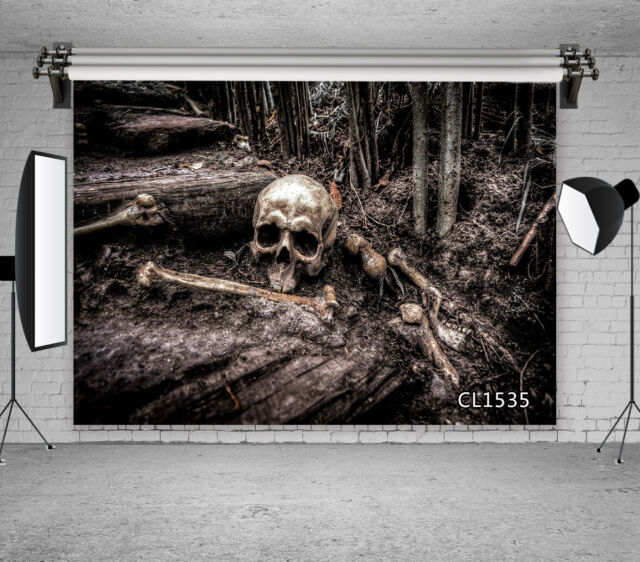 6x6FT Vinyl Photography Backdrop,Skull,Deadly Skeleton Victorian Photo Background for Photo Booth Studio Props