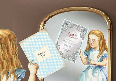 Save the Date Looking Glass Sample Disney Inspired Alice Wonderland Invitation