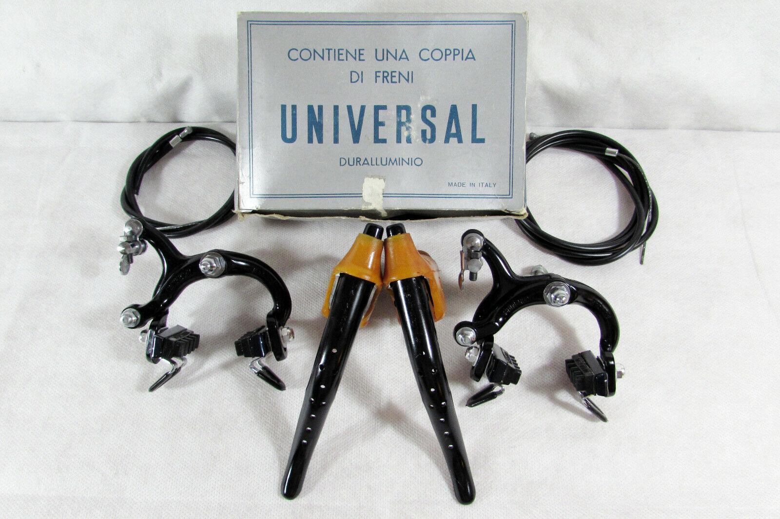 Vintage NOS Universal Mod. 125 juego de frenos de acabado en negro, para campanas. Menta en caja