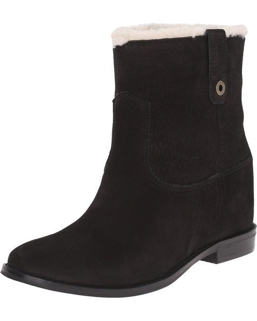 NEW Cole Haan Zillie Shearling Booties Booties Shearling Blk Suede Ankle Boots Sz 9 M 924e3d