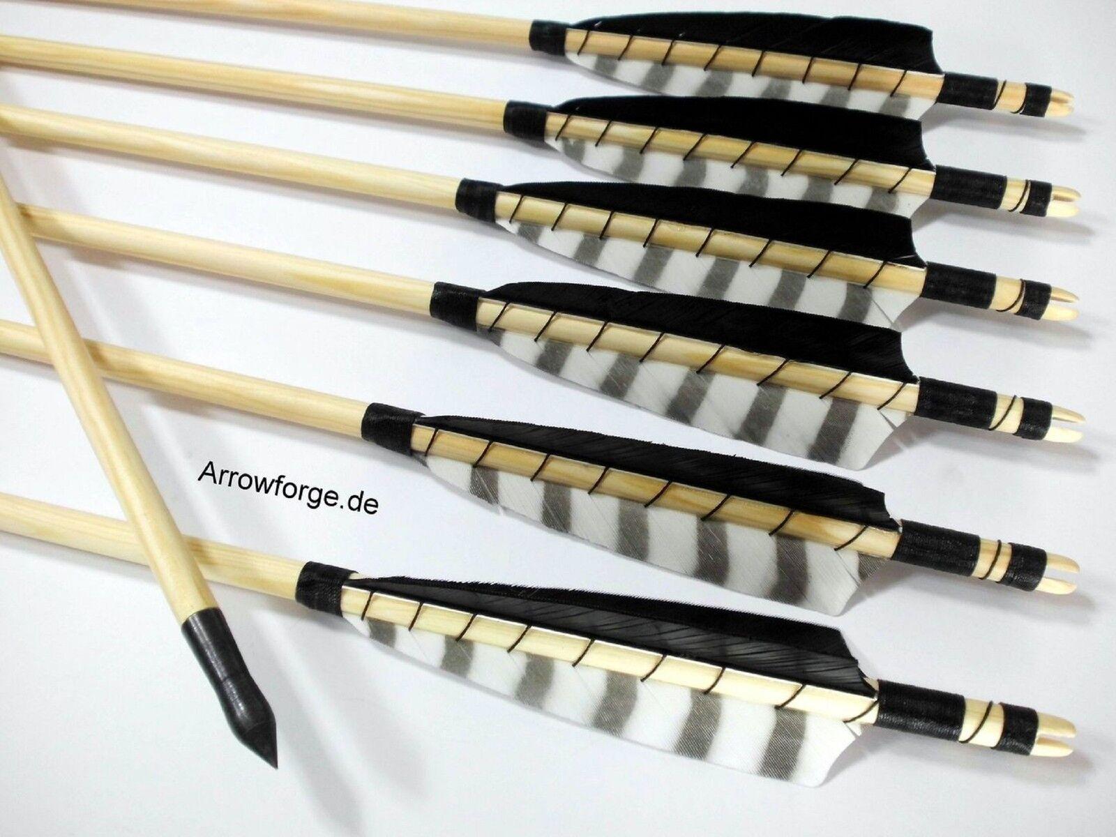 6x wooden Arrows 5 5 5  Shield Barrot Weiß self-nock N.P. 50-55  History Point cfeba7