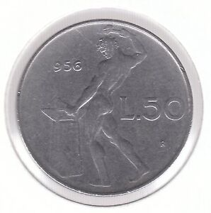 Italy 1956 50 Lire Stainless Steel Coin  Vulcan at the Anvil - <span itemprop=availableAtOrFrom>Dukinfield, United Kingdom</span> - Italy 1956 50 Lire Stainless Steel Coin  Vulcan at the Anvil - Dukinfield, United Kingdom
